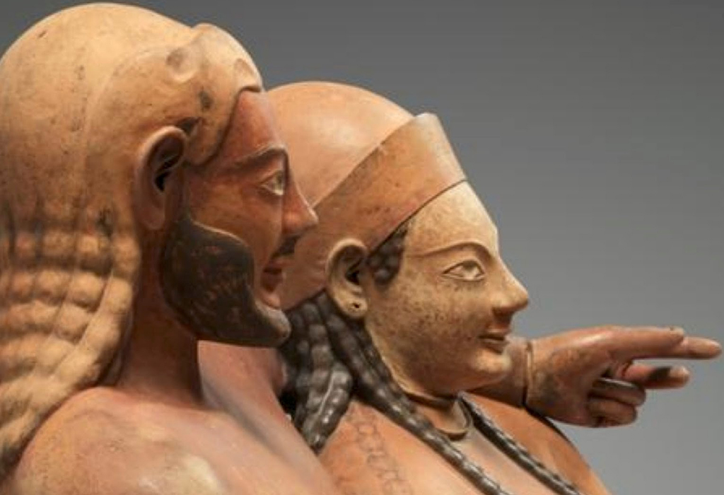 Sarcofago degli sposi (dettaglio), Cerveteri, 530 - 520 a.C. ca, Museo nazionale etrusco di Villa Giulia a Roma - (Sarcophage des epoux) - Versione capovolta TIFF